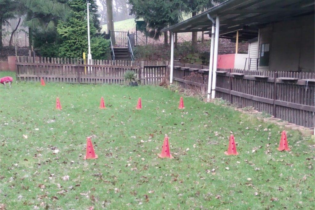 Mitglieder des Vereins haben mit roten Hütchen auf dem Gelände die Fläche gekennzeichnet, auf der der Bach und sein Ufer künftig verlaufen würde wie sie befürchten.