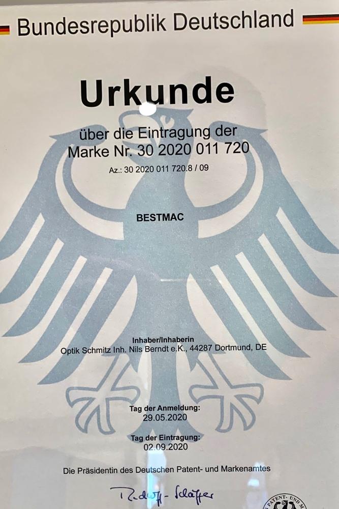 Die offizielle Urkunde vom Deutschen Patentamt in München.