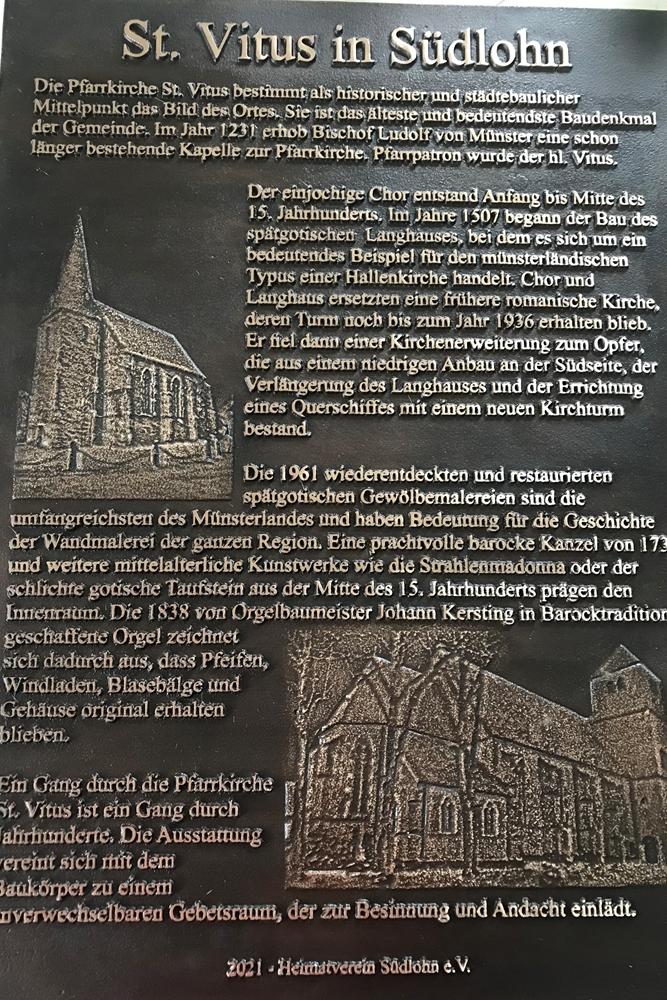 Wissenswertes über die St.-Vitus-Kirche können Interessierte bald auf dieser Tafel lesen, die nebem dem Hauptportal der Vituskirche aufgestellt werden soll.