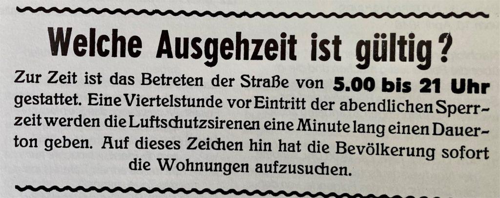 Mit solchen Veröffentlichungen wurde die Dortmunder Bevölkerung über die aktuell gültige Sperrzeit in den ersten Monaten nach Kriegsende 1945 informiert.