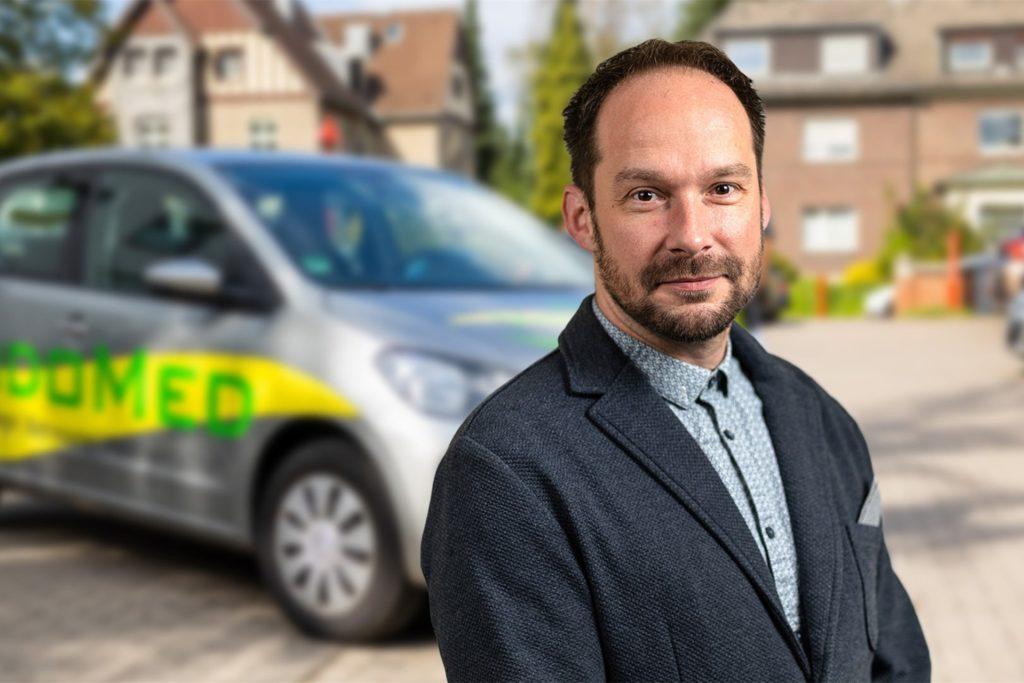 Philipp Ostermann ist Geschäftsführer von Vidomed in Oestrich. Der Pflegedienst an der Castroper Straße wird am 10. Mai ein Schnelltest-Zentrum