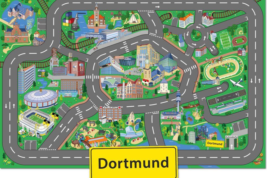 So sieht der neue Spielteppich mit Dortmunder Motiven aus.