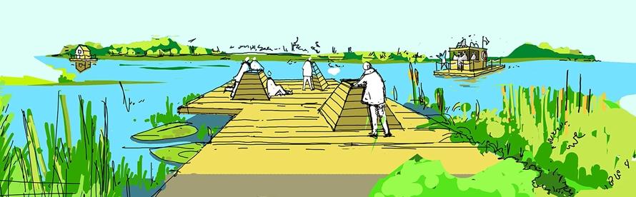 Am Nordufer des Revierpark-Teichs entsteht ein schwimmender Steg mit Aquaskopen, die einen Blick in die Unterwassser-Welt erlauben.