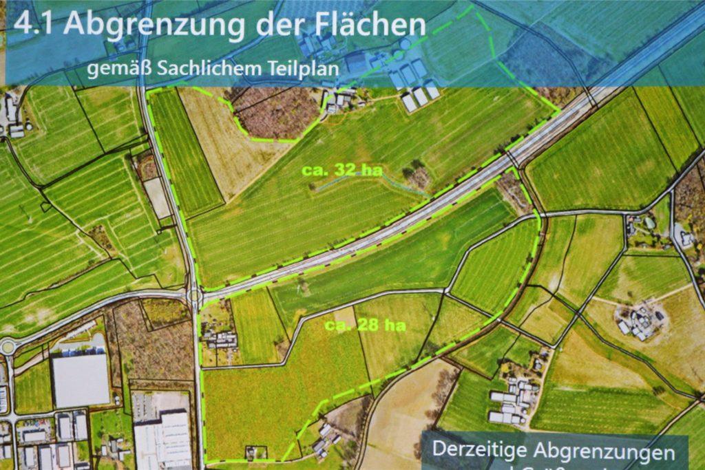 So sehen die Pläne aus: Die Werner Politik hat bislang aber lediglich ihre Zustimmung für den nördlichen Teil (32 Hektar) gegeben. Der südliche Teil ist quasi nur eine regionale Optionsfläche.