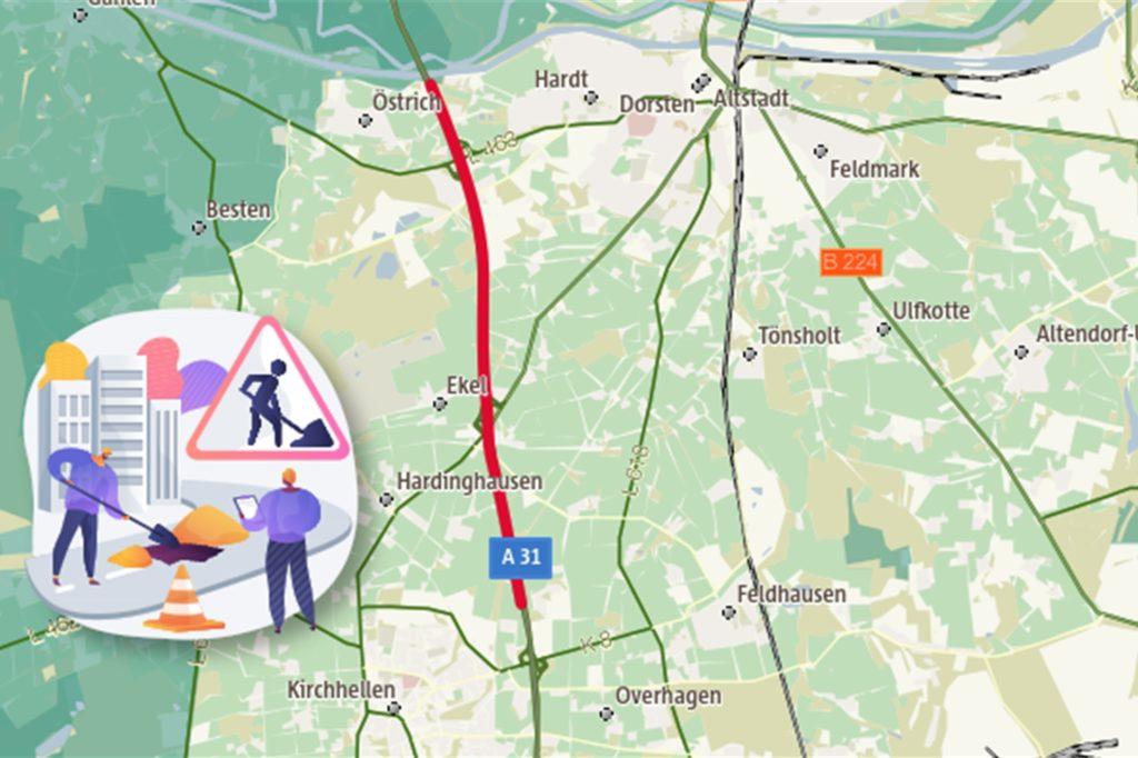 Der rote Streckenabschnitt wird bis Herbst 2022 saniert.