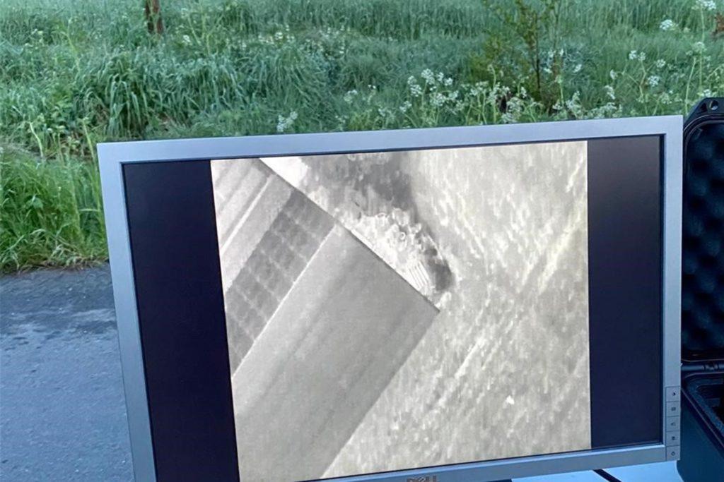 Auf diesem Monitor sieht man Wärmesignaturen von Wildtieren.