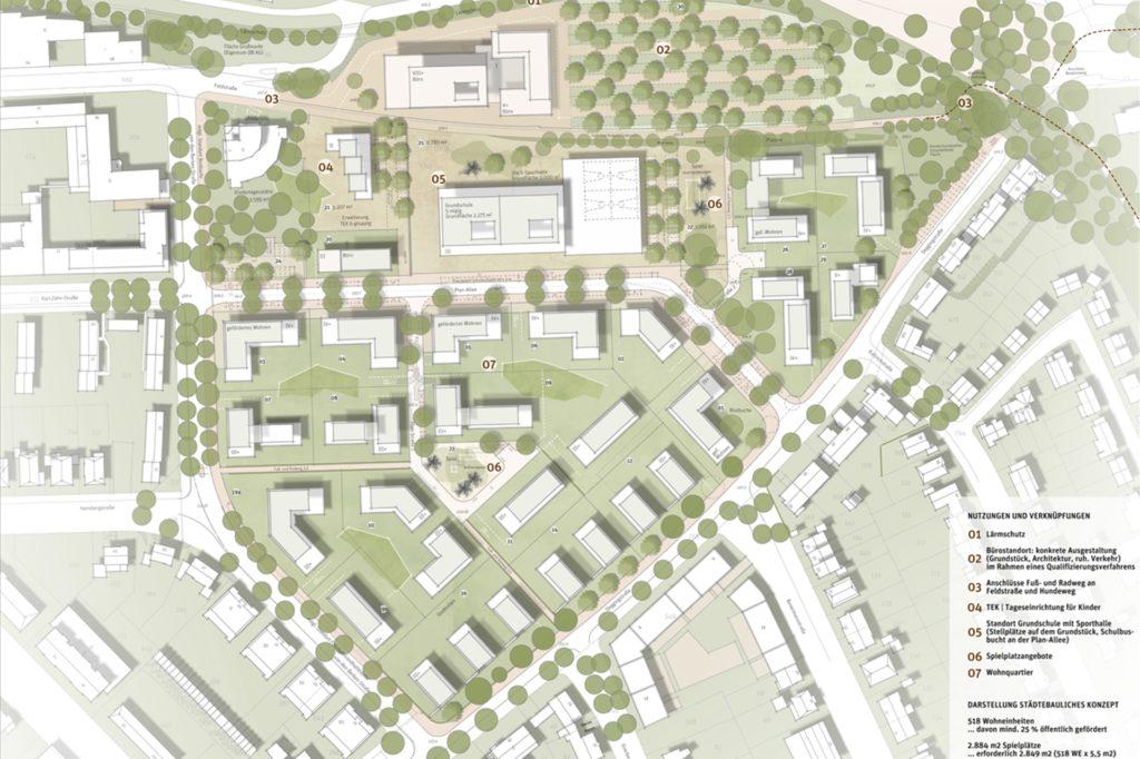 Im Zentrum des neuen Wohngebiets soll eine Grundschule gebaut werden.