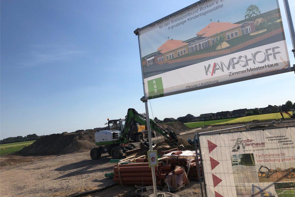 Mit dem Bau des neuen Kindergartens an der Stockbreede ist bereits begonnen worden.