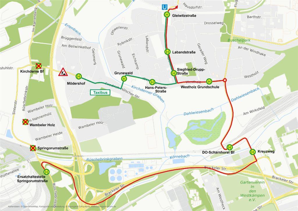 Diese von DSW21 zur Verfügung gestellte Karte zeigt die Route des Taxi-Busses, der an sieen Tagen in der Woche fährt