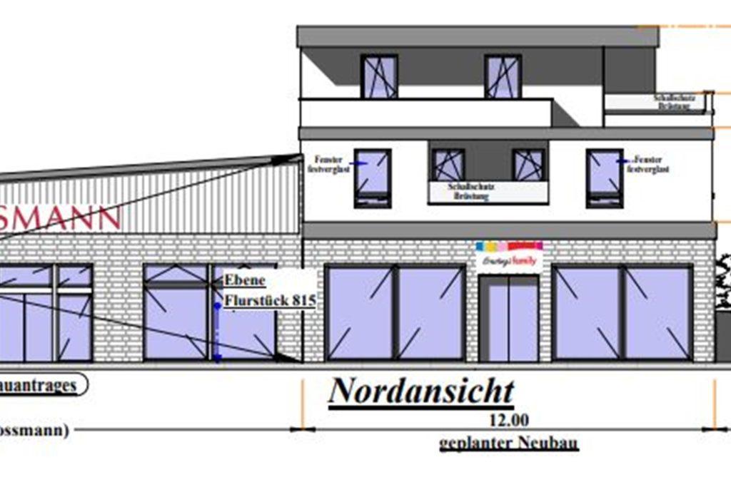 Der Plan zeigt, wie das Gebäude rechts neben Rossmann aussehen soll.