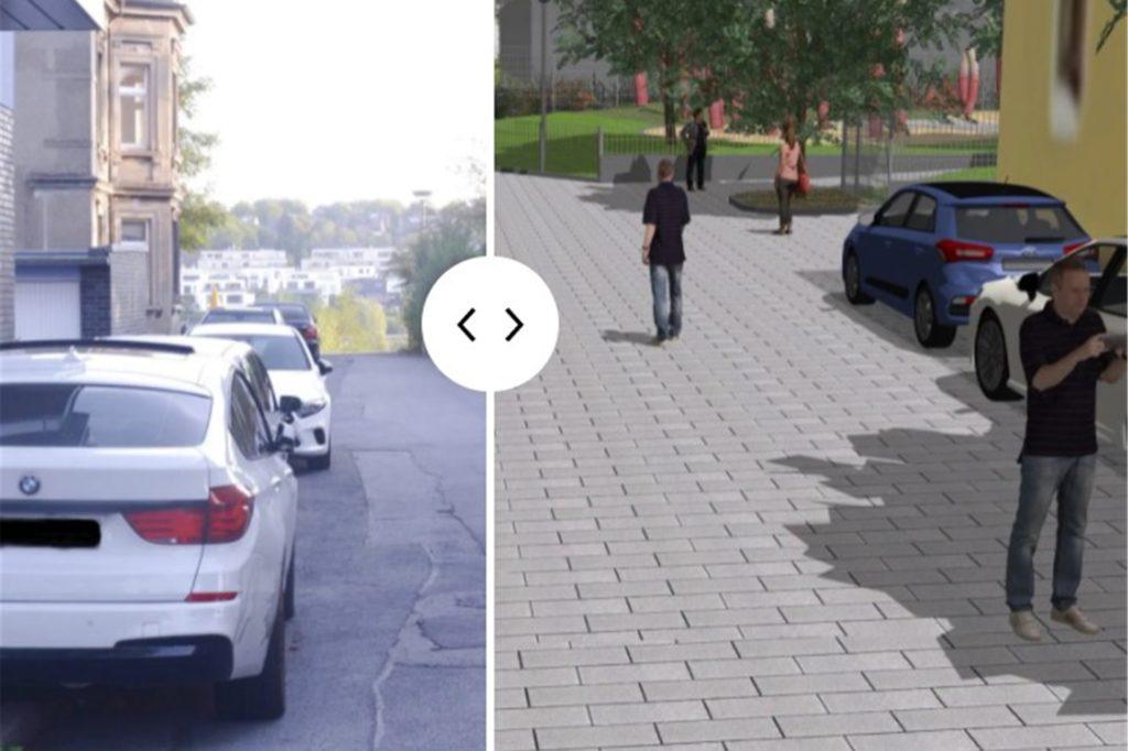 Links der Istzustand auf der linken Straßenseite, rechts die Umbau-Idee: So soll es dann auf der gesamten Keltenstraße aussehen.