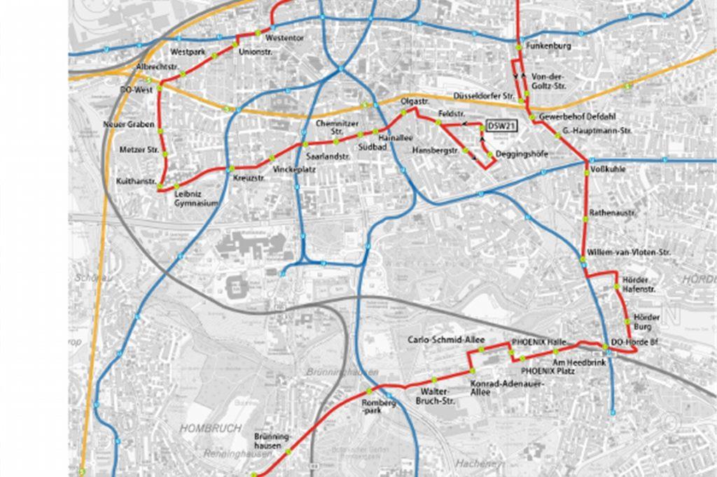 Die neue Buslinie 400 (rote Linie) zieht sich ringförmig um die Dortmunder Innenstadt, führt teilweise aber auch in sie hinein.