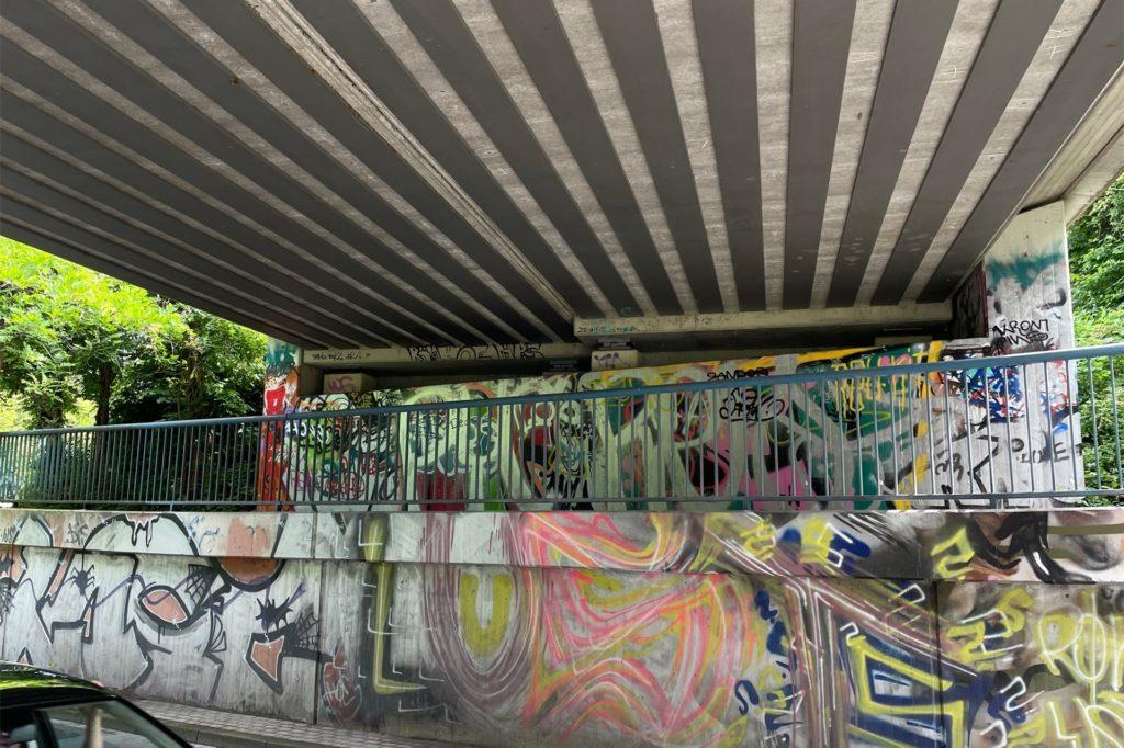 Auch an der Brücke am Nussbaumweg haben sich Grafitti-Akteure versucht. Solche Beispiele gibt es viele in Dortmund.