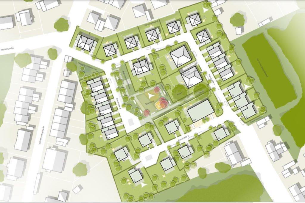 Ein Planungsbüro hat zurzeit diesen Planungsstand für Schacht 3/4 von Graf Schwerin in Dingen: eine Durchfahrstraße, zwei Stichstraßen, ein Spielplatz, rund 50 Wohneinheiten. Anwohner monieren die geringen Abstände zur Bestandsbebauung im Bereich oben/Mitte links und unten rechts.