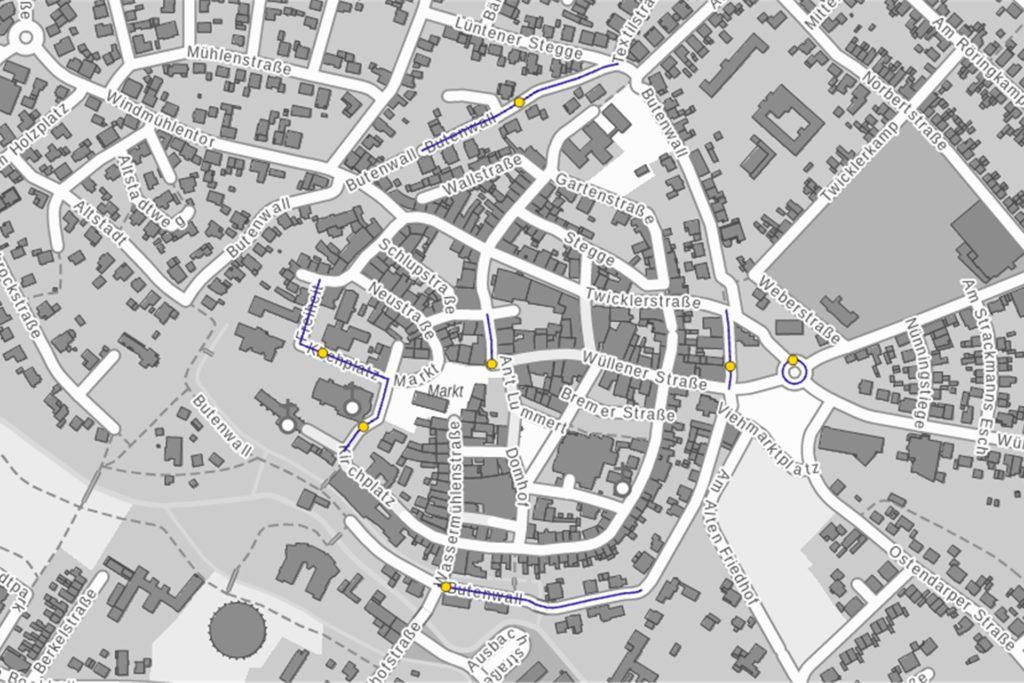 Eine Häufung von Fahrradunfällen ist in der Innenstadt zu sehen. Jeder gelbe Punkt steht für einen Unfall mit Personenschaden, bei dem ein Fahrradfahrer beteiligt war.