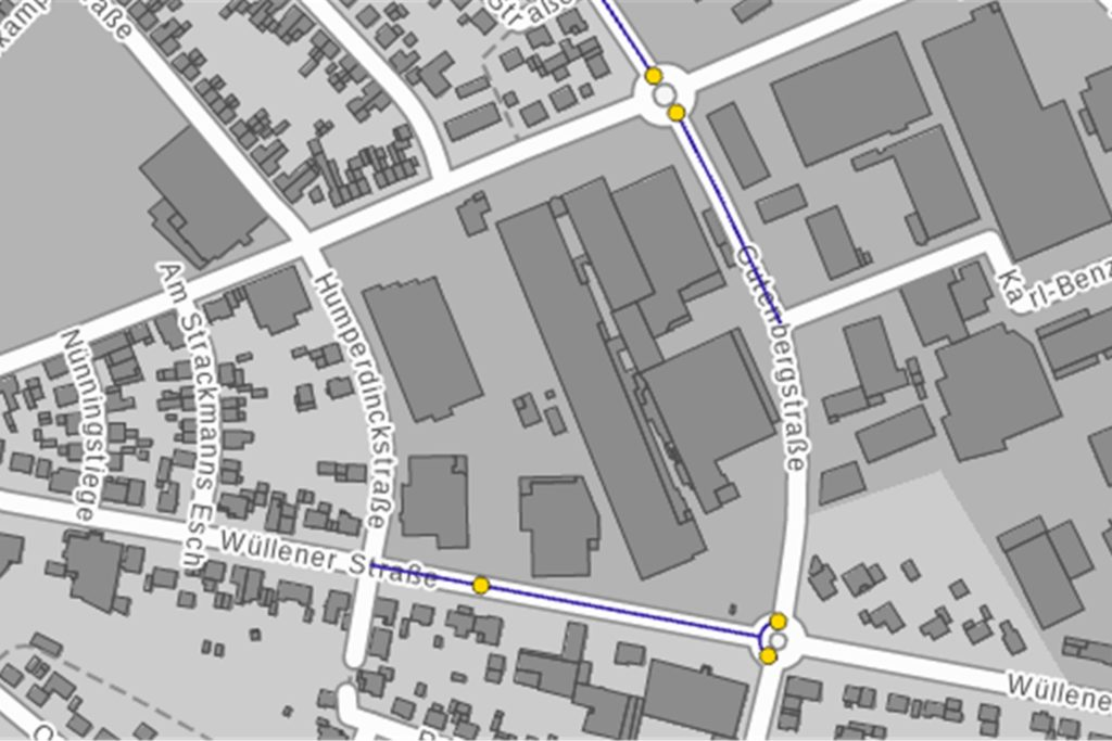 An Kreisverkehren passieren in Vreden besonders häufig Unfälle mit Fahrradfahrern. Jeder gelbe Punkt steht für einen Unfall mit Personenschaden, bei dem ein Fahrradfahrer beteiligt war.