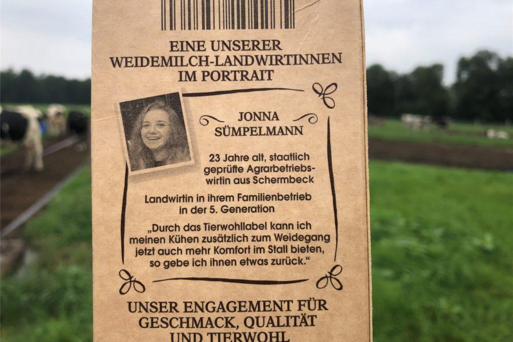 Mit einem Kurz-Portrait wird Jonna Sümpelmann auf der Milchpackung vorgestellt.