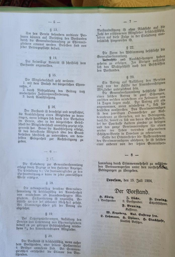 Eine Satzung der Schützengilde um 1904.