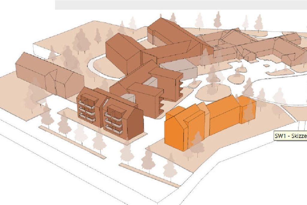 Der orangefarbene Gebäudekomplex zeigt den Bereich, in dem gegenwärtig 17 Wohnungen für Senioren und Menschen mit Betreuungs- und Unterstützungsbedarf entstehen.