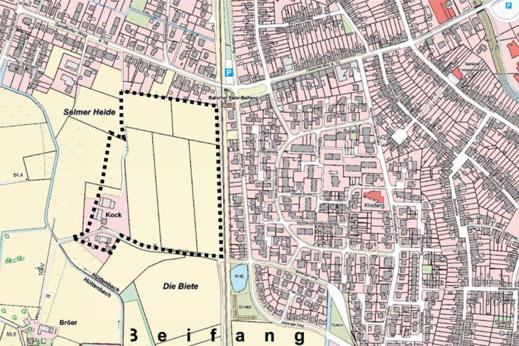 Innerhalb der gestrichelten Linie soll am westlichen Siedlungsrand von Selm das neue Baugebiet entstehen.