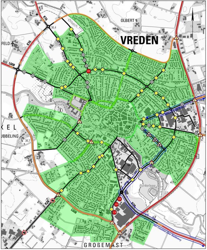 Grün markiert sind Tempo-30-Zonen und verkehrsberuhigte Bereiche. Auf den schwarzen Strecken gilt noch Tempo 50. Orange steht für 70 km/h als zulässige Höchstgeschwindigkeit und Rot für 100.