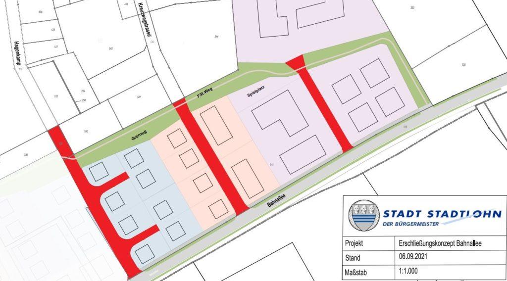 Dieses Erschließungskonzept für das neue Wohnbaugebiet an der Bahnallee hat der Stadtentwicklungsausschuss am Dienstag mit großer Mehrheit gebilligt.